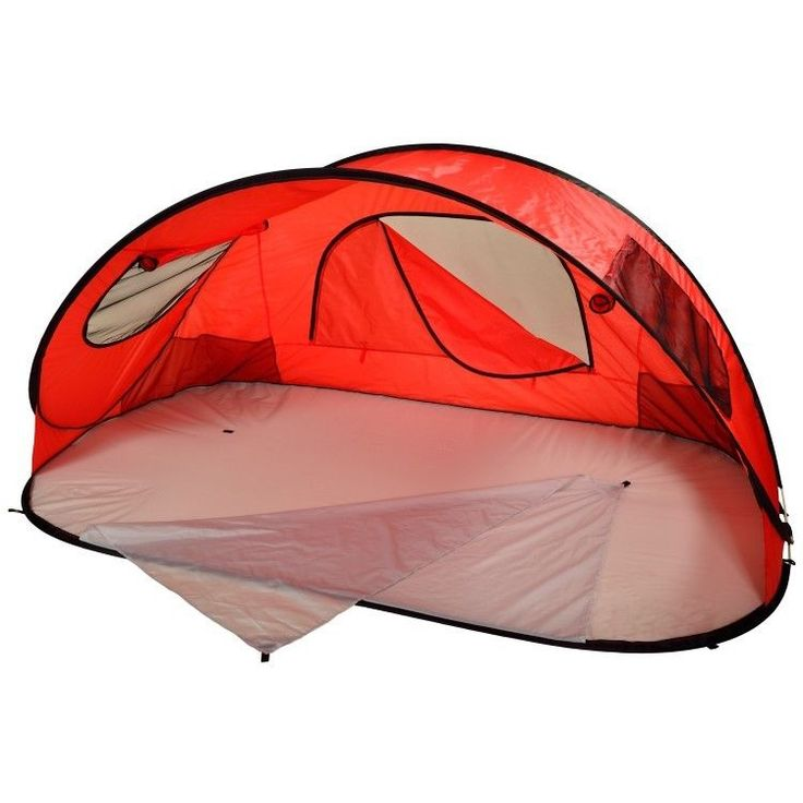 US $114.62 #beachshelter #popuptent Pop Up Beach Shelter Tent Red Canopy Large Lake Sun Shade Portable Outdoor Sport