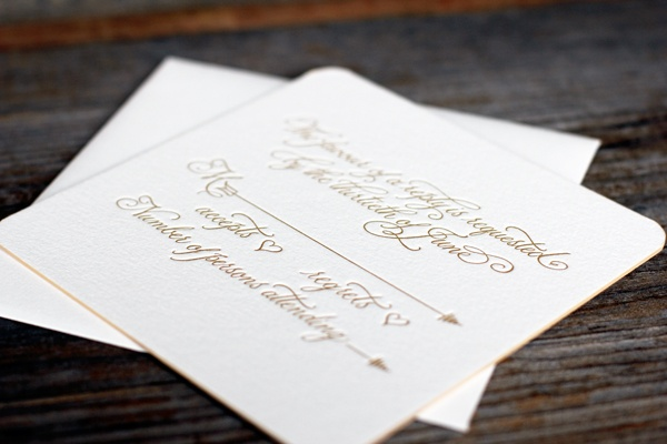 sweet and simple calligraphy letterpress reply card
