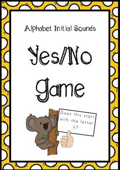 This is a game that encourages children to think about the initial/beginning sounds of words. There are 96 alphabet picture/question cards and two Yes No place cards in this pack. When playing, I usually split the pack of cards in half or less, as it takes them a quite a few sessions to work through all the cards confidently!For more resources, please visit my store.Happy Teaching!