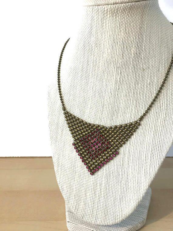 Mesh bib necklace Robert Rose Draping brass and rhinestones