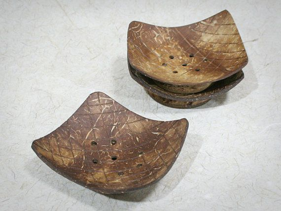 Set of 3 Rectangle Coconut Shell Soap Dish by NatureTray on Etsy