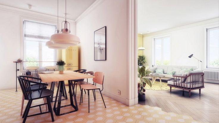 To mieszkanie o powierzchni 95m2 mieści się w odrestaurowanej poznańskiej kamienicy. Rozmowy z inwestorem skłoniły architektów do stworzenia przestrzeni kolorowej i pełnej roślinności. Założeniem projektowym jest zastosowanie nietypowych materiałów oraz mebli w celu stworzenia nietuzinkowego, przyja
