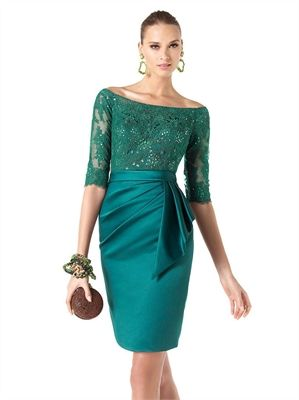 Green Lace Satin 2013 Short Prom Dresses