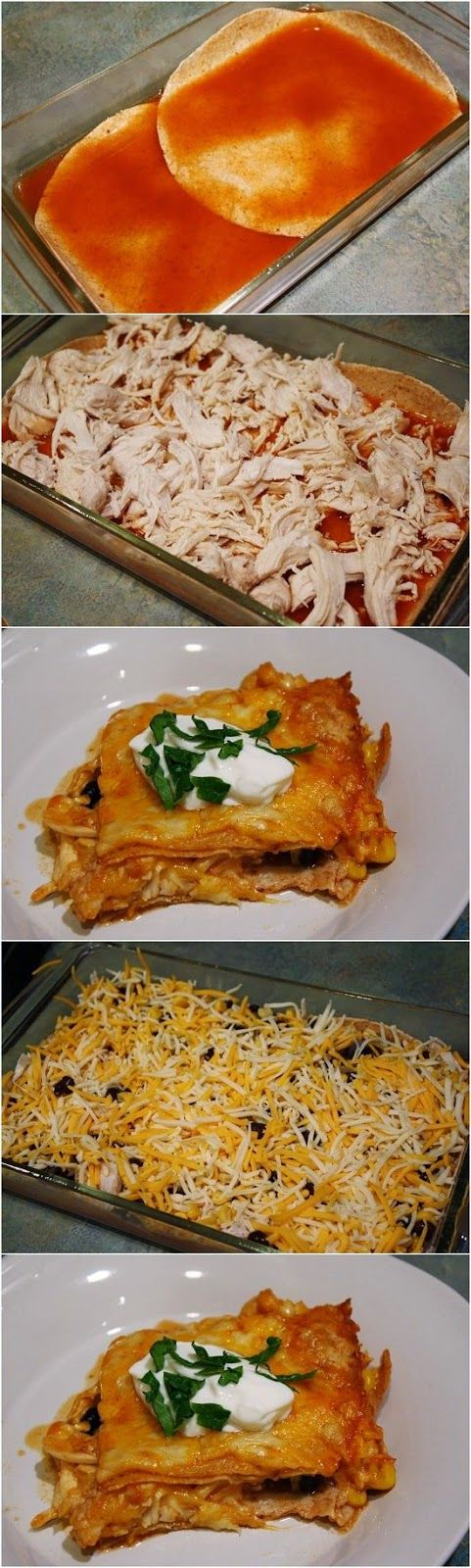 Skinny Chicken Enchilada Casserole