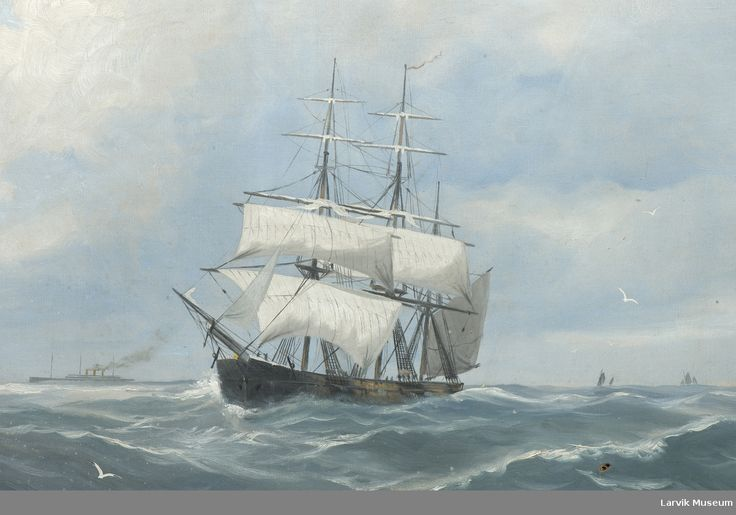 Ukjent skip. Legg merke til dampskipet i venstre bakgrunn og de mindre seilbåtene i høyre bakgrunn.