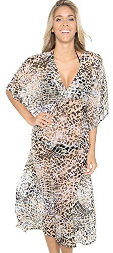 La Leela Animal Skin Printed Sheer Chiffon Long Tube Beach Cover up Beige - Large. Do YOU want COVER UPS in other colors Like Red | Pink | Orange | Violet | Purple | Yellow | Green | Turquoise | Blue | Teal | Black | Grey | White | Maroon | Brown | Mustard | Navy ,Please click on BRAND NAME LA LEELA above TITLE OR Search for LA LEELA in Search Bar of Amazon. STRETCHABLE Elastic gives YOU an ADJUSTABLE and COMFORTABLE Fit. US SIZE : From Regular 10 (M) TO 14 (L) ➤ UK SIZE : FROM REGULAR 14…