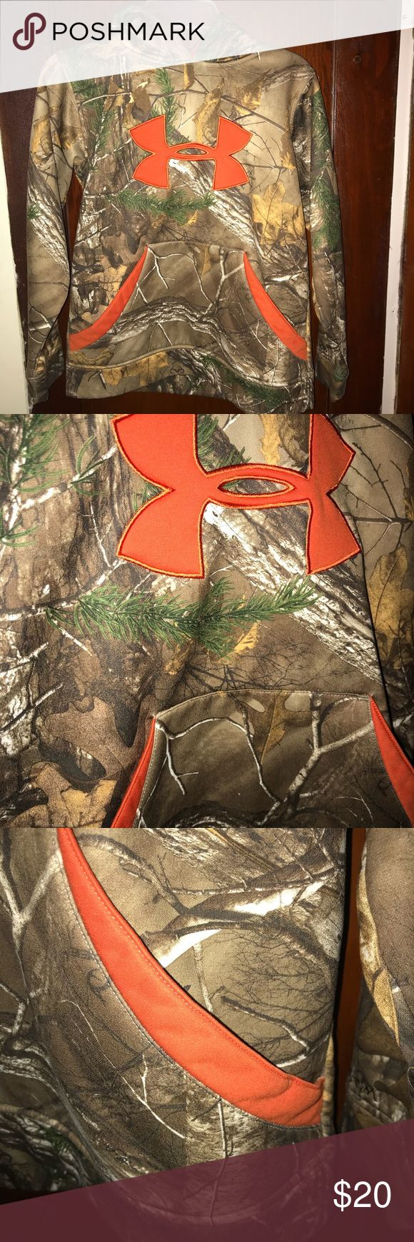 Boys camouflage under armour hoodie Real tree camo with hunter orange logo and trim  Size youth small  No damage, has been washed and worn Under Armour Shirts & Tops Sweatshirts & Hoodies