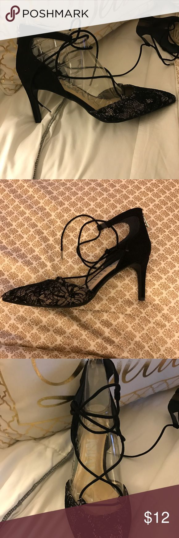 Lace heels with ballerina straps New condition black heels Sam & Libby Shoes Heels