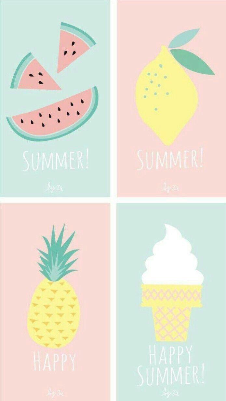 Summer Graphics Lemon Pineapple Watermelon Ice Cream Cute Wallpapers Summer Wallpaper Iphone Wallpaper