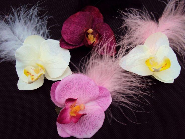 BROCHE Corsage BOUTONNIÈRE Mariage ORCHIDÉE PLUME fleur artificielle : Broche par artifleurs