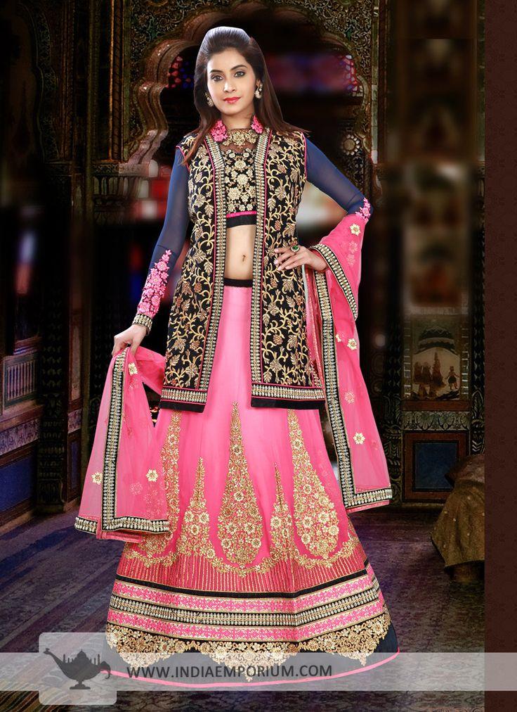 Snazzy Chiffon Blue & Pink Panel Style Zari and Resham Embroidery Lehenga Choli