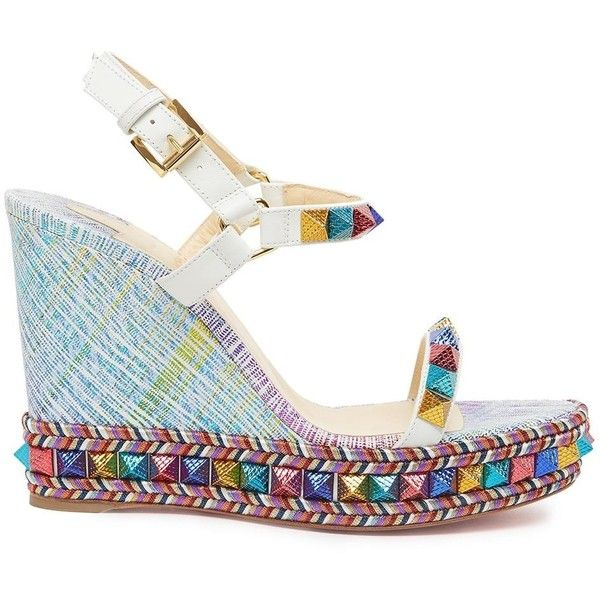 new arrival 285c4 f4484 CHRISTIAN LOUBOUTIN 'Pyraclou' Wedges (£415) ❤ liked on ...