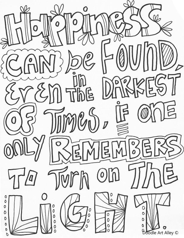Happinesscanbefound Jpg Coloring Adult Pinterest Printable Quote Coloring Pages