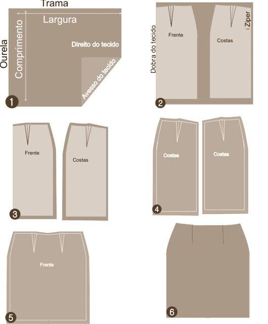 Agulha de ouro Ateliê: Aula para iniciantes 3 saia reta: Cortando e costurando do molde para o papel