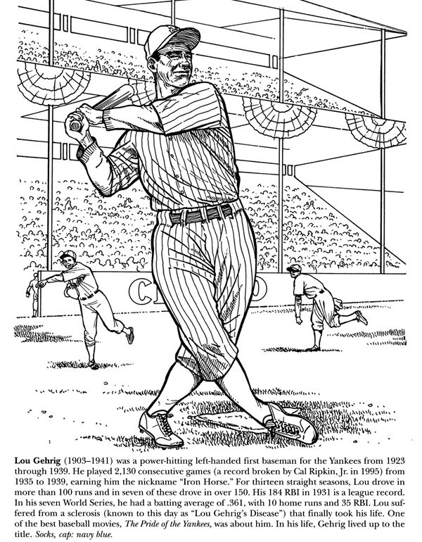Cartoon Yankees Stuff Coloring Pages