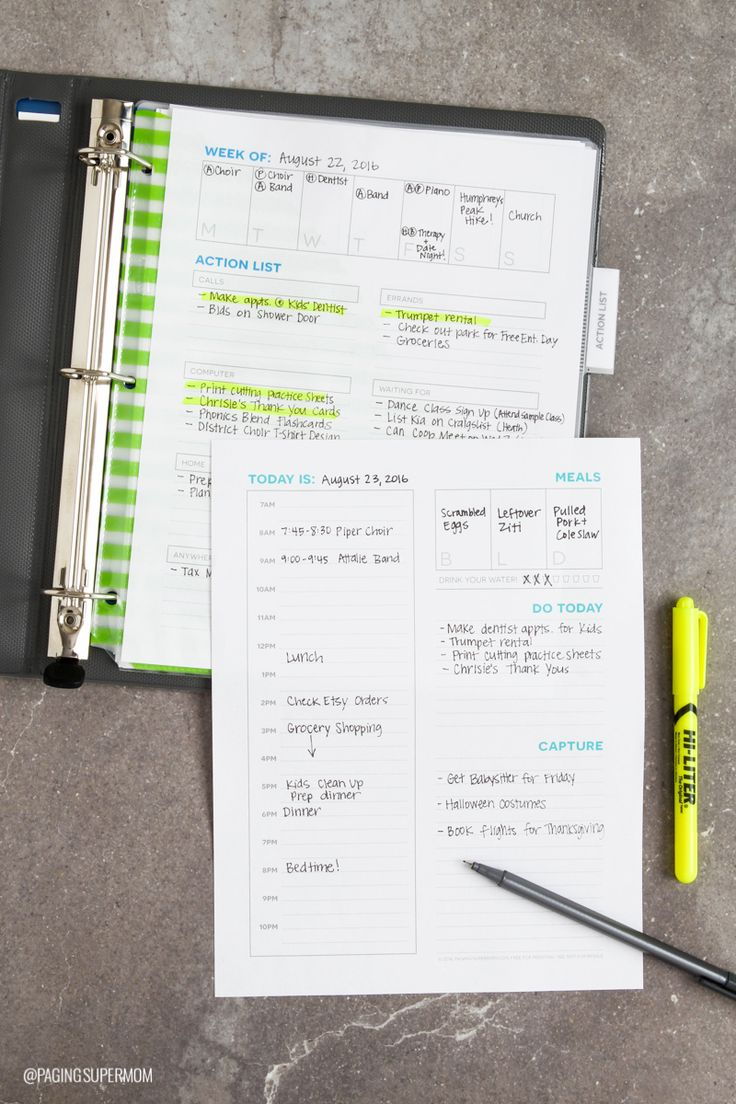 Organize Your Life with this Daily Planner Template designed for Moms from @PagingSupermom #GTD