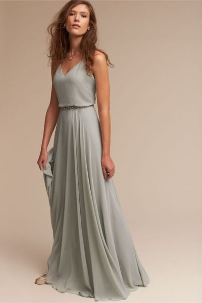 Romantic bridesmaids dress idea - grayish-teal chiffon dress with v-back + beaded belt. Style Inesse Dress by BHLDN. Get more bridesmaids inspiration by @BHLDN on @weddingwire!