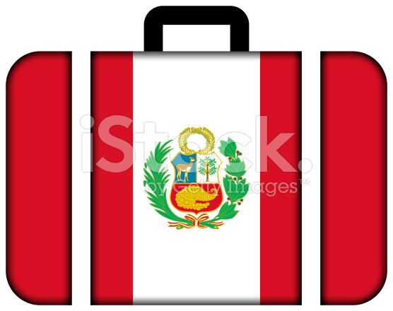 Suitcase with Peru Flag royalty-free stock photo