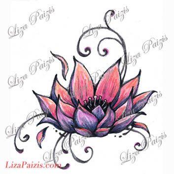 Lotus tattoo design pink lotus flower waterlily tattoo by Liza Paizis
