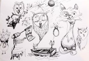 Character development for my interpretation of the characters in the poem The Owl & the Pussy Cat.