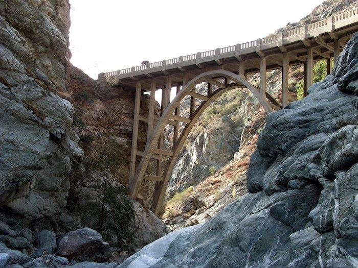 Hike to the infamous Bridge to Nowhere - a 120-foot arch bridge deep in the Angeles National Forest.