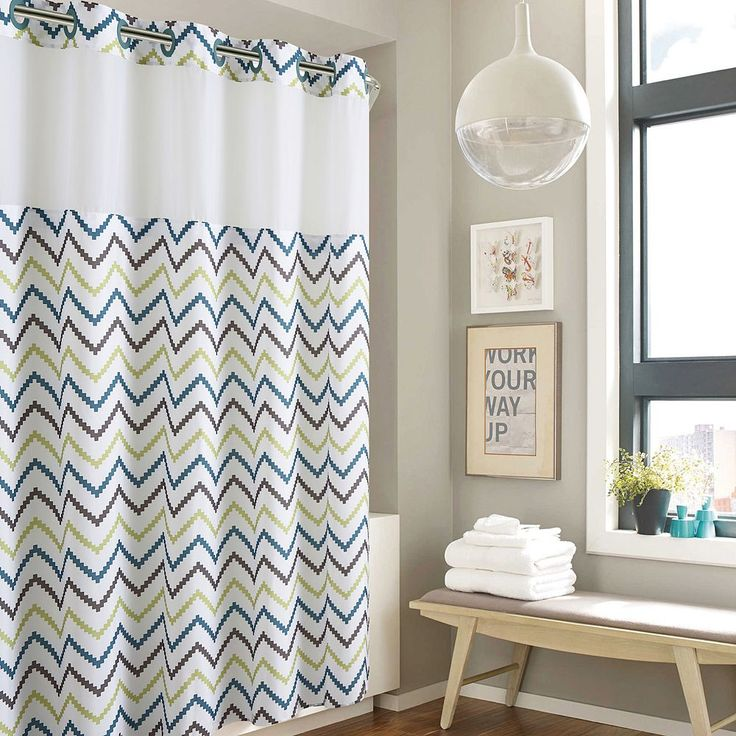 Hookless Tribal Chevron Shower Curtain with Liner, Green