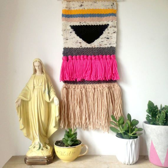 Handmade Woven Wall Hanging  boho fibre art by TheLuckyFox on Etsy