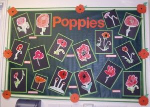 . I love this display for Remembrance Day. The colours work so well together. The black backing paper provides a perfect neutral background for the red of the children's work and the lettering. The...