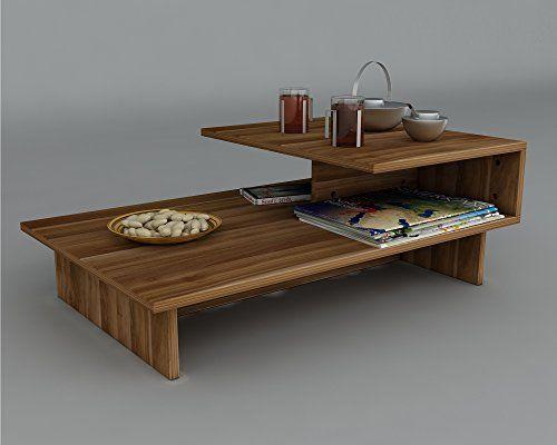 JARDIN Couchtisch - Holzwerkstoff - Moderner Wohnzimmertisch in trendigem Design mit Ablagefläche (Nussbaum)