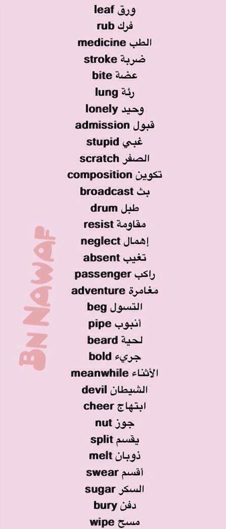 كلمات انجليزية وترجمتها