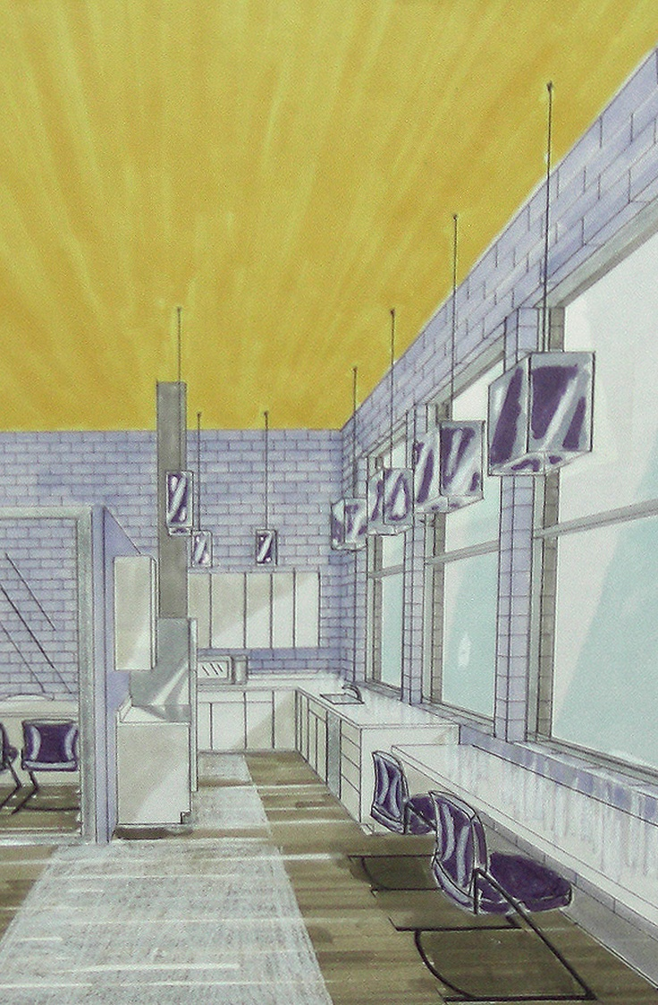 One Perspective Drawing Room: Marker & Colored Pencil Rendering Of A 1 Point Perspective