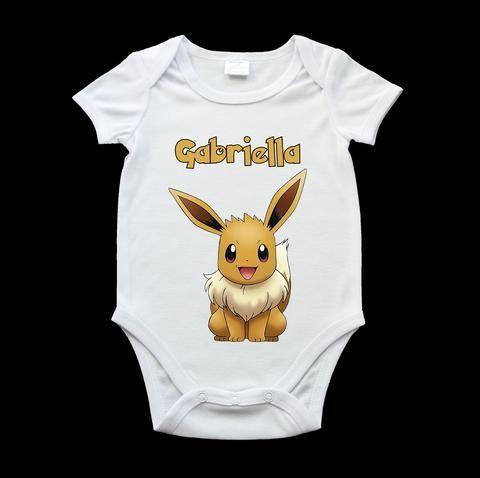 Personalised Eevee Pokemon baby onesie,