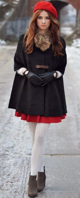 layered dress look with hat and knitted tights & gloves. fur scarf
