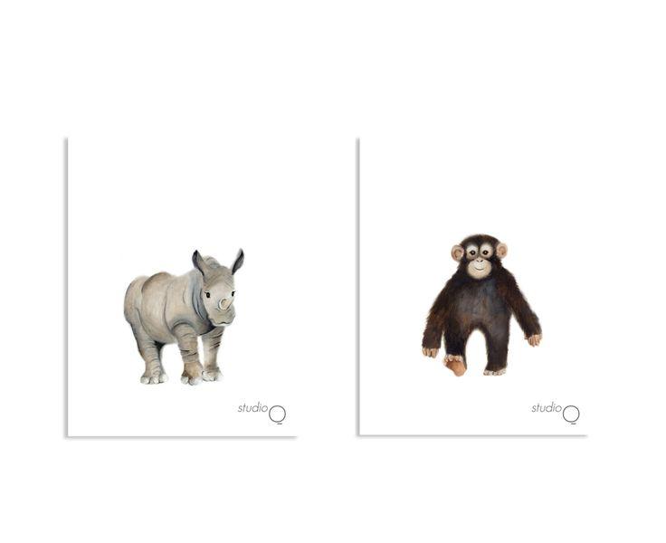 Impresiones de vivero de Safari juego de 6 por studioQgallery