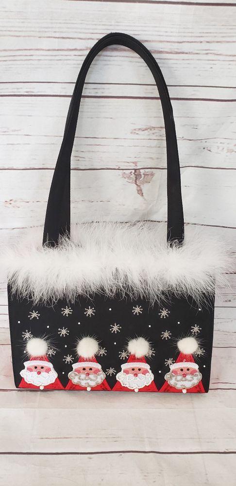 Santa Handbag Boutique Christmas Purse Embroidered Black and Red Holiday Bag   Unbranded  ShoulderBag 970192bd65e59