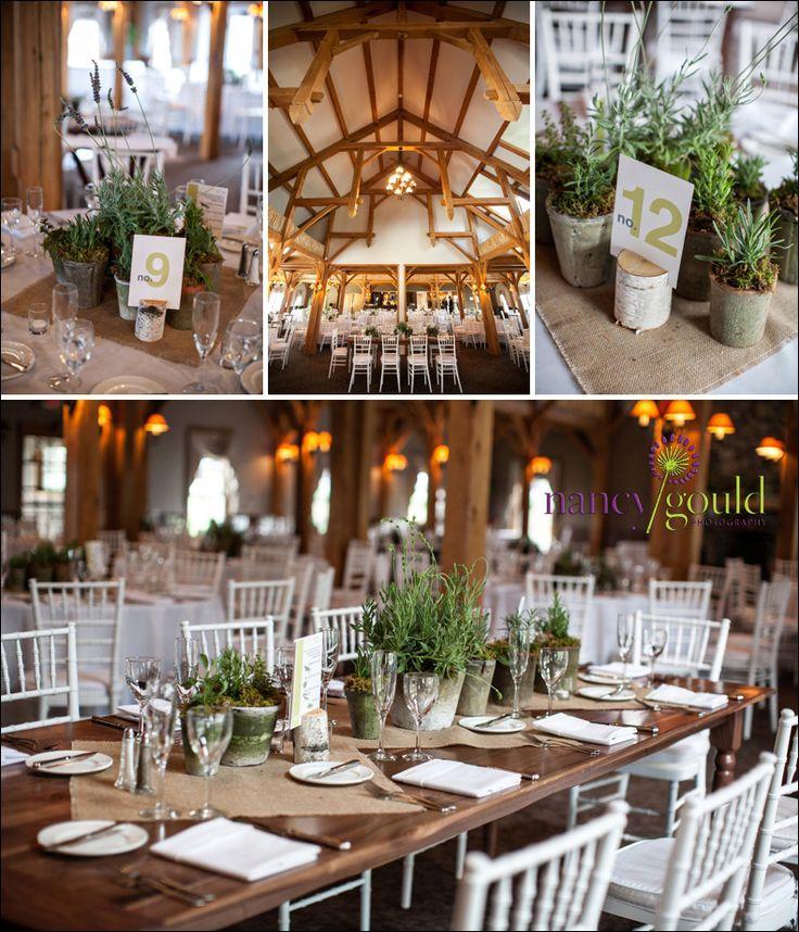 Rustikale Hochzeitsdekoration mit Kräutern