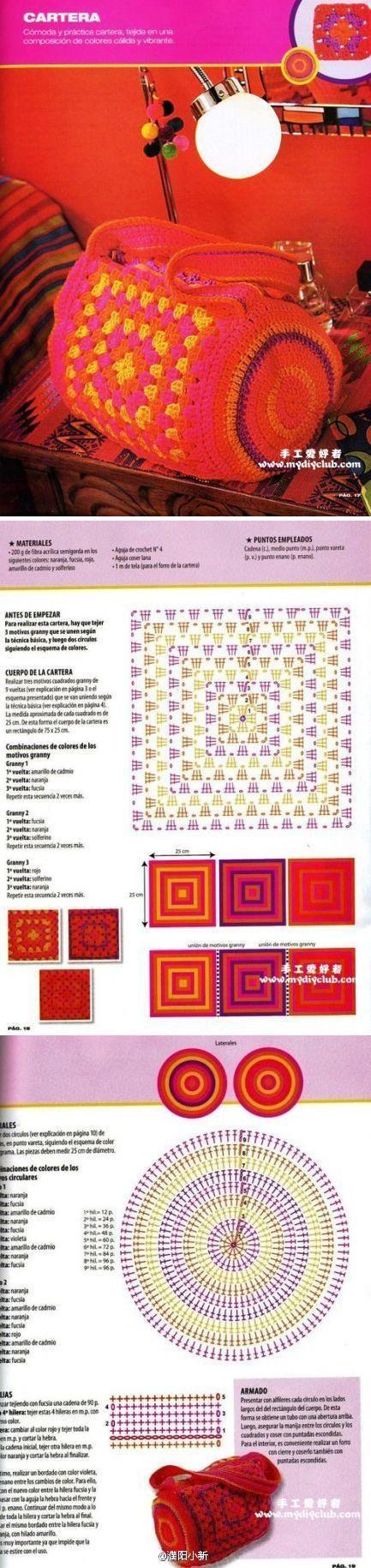 Crochet Granny Bag - Chart ❥ 4U hilariafina  http://www.pinterest.com/hilariafina/