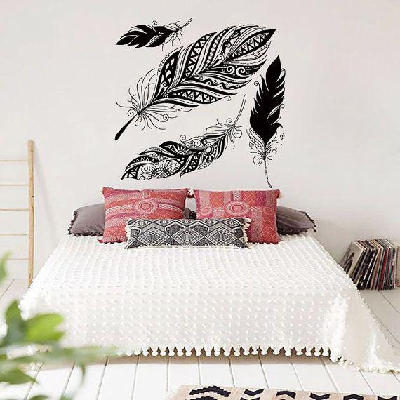 Dream Wall Decals Catcher Vinyl Decal Feather Sticker Boho Dreamcatcher for Bedroom Nursery Bohemian Bedding Hippie Decor MN970