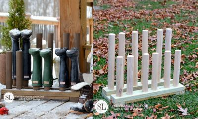 """How To Build An Upside Down Rubber Boots Wood Rack  Homesteading  - The Homestead Survival .Com     """"Please Share This Pin"""""""
