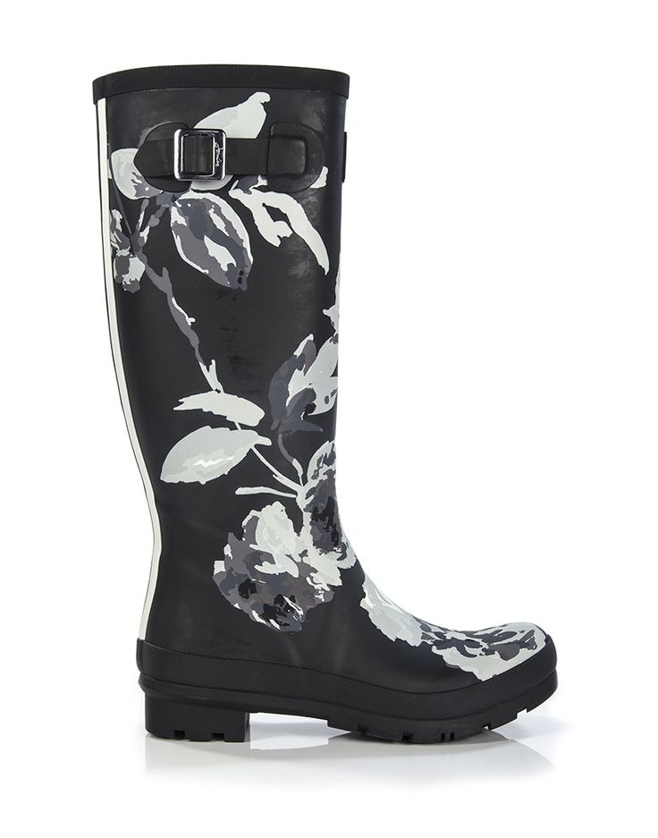 Joules Women's Wellyprint Printed Wellington Boots - Black Beau Bloom W_WELLYPRINT - Joules Women's - Joules - Our Brands | Country Attire