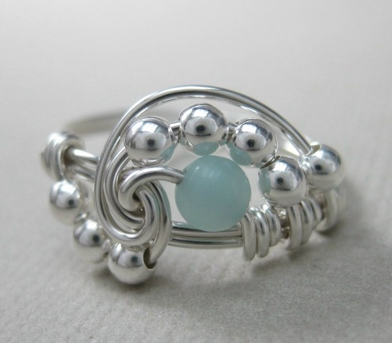 Pi  Wire Wrapped Ring Amazonite and Sterling Silver by holmescraft, $24.00
