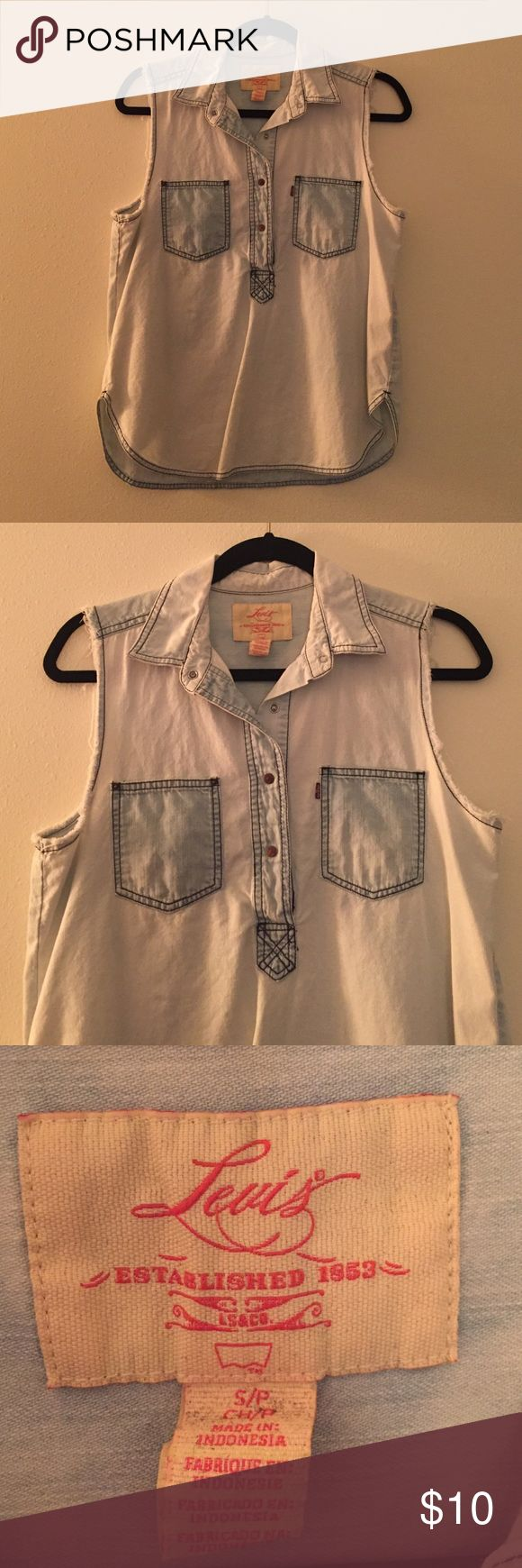 Levi's Sleeveless Denim Shirt Levi's sleeveless denim shirt. Great condition. 100% cotton. Levi's Tops Button Down Shirts