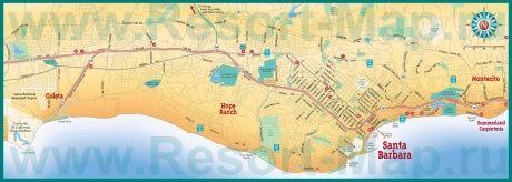 Подробная карта города Санта-Барбара с окрестностями