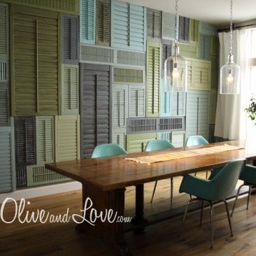 Shutter Wall!!! Cute for an apartment.