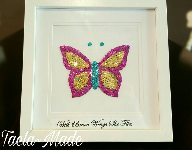 """""""With brave wings she flies"""" sequin art boxed frame DIY craft for the home  Taela-Made"""