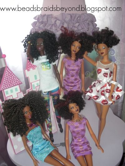 Natural Hair Barbies! I absolutely love this...I'm going to by my baby girl a bunch of dolls and try this!