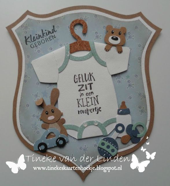 Handmade baby card by DT member Tineke with Collectables Eline's Onesie (COL1419), Eline's Baby Essentials (COL1421) and Eline's Baby Essentials (COL1421) from Marianne Design