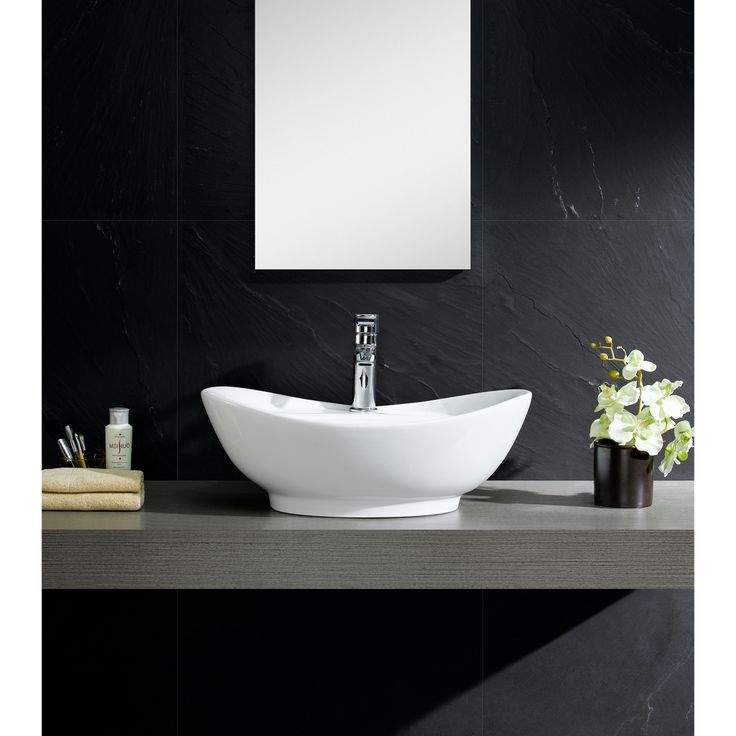 modern bathroom fountain valley reviews%0A Fine Fixtures Modern Vitreous Large Oval Vessel Sink Vessel Bathroom Sink  with Overflow