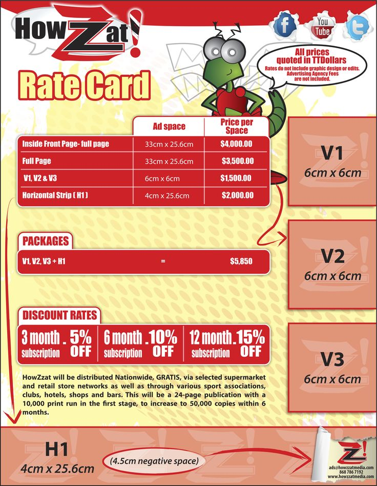 Our Rate card for all advertisers Print advertising