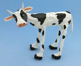 Cow newspaper and Masking Tape Sculpture Craft for Kids
